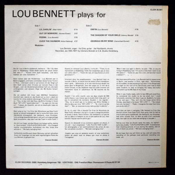 Lou Bennett - Lou Bennett Plays For Clem