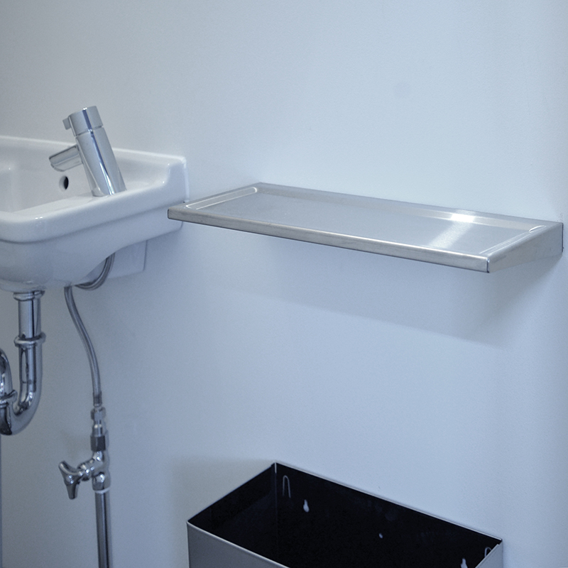 STAINLESS STEEL SHELF WITH RAISED EDGE
