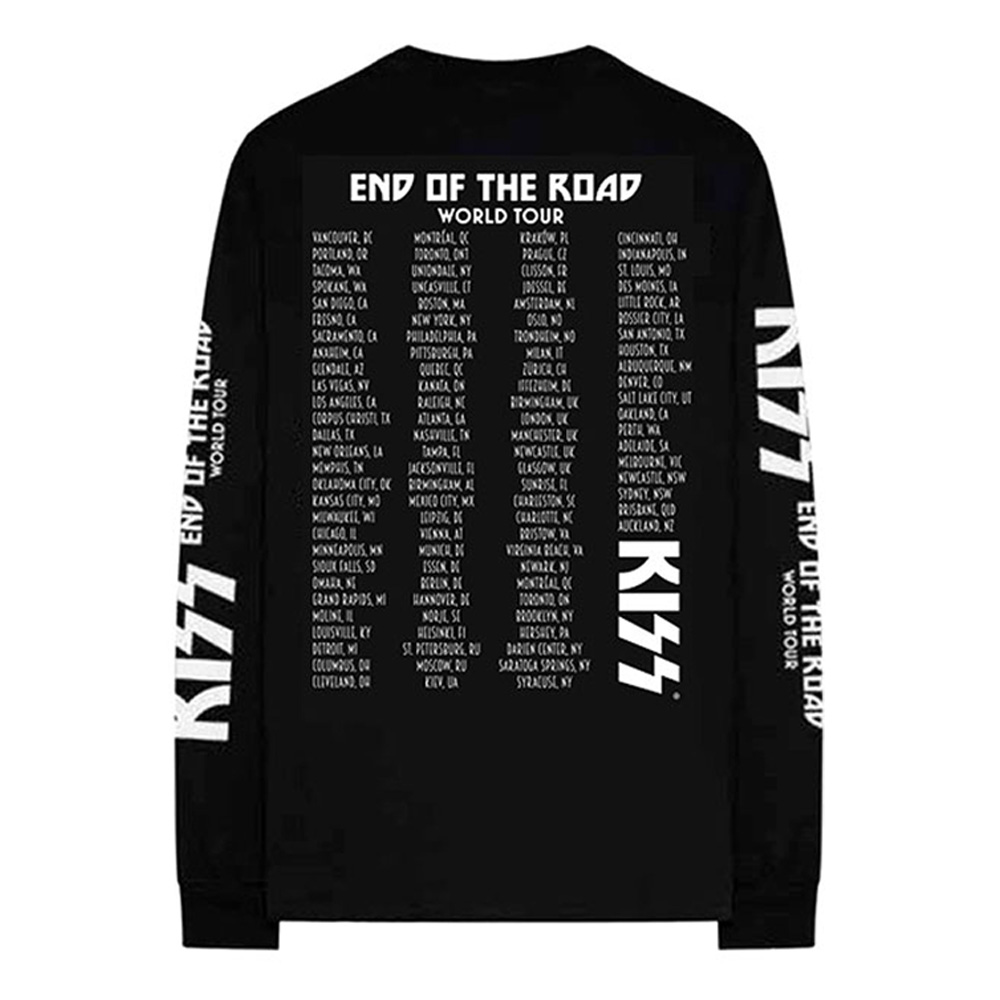 KISS キッス - End Of The Road Tour / バック & アームプリントあり / 長袖 / Tシャツ / メンズ 【公式 / オフィシャル】