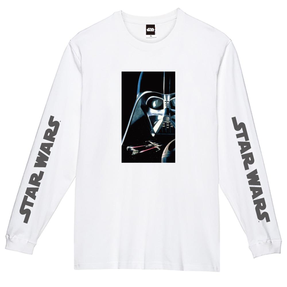 STAR WARS スターウォーズ - 蓄光ロゴロングスリーブTシャツ(ダース・ベイダー) / ホワイト / 長袖 / 限定商品 / Tシャツ / メンズ 【公式 / オフィシャル】