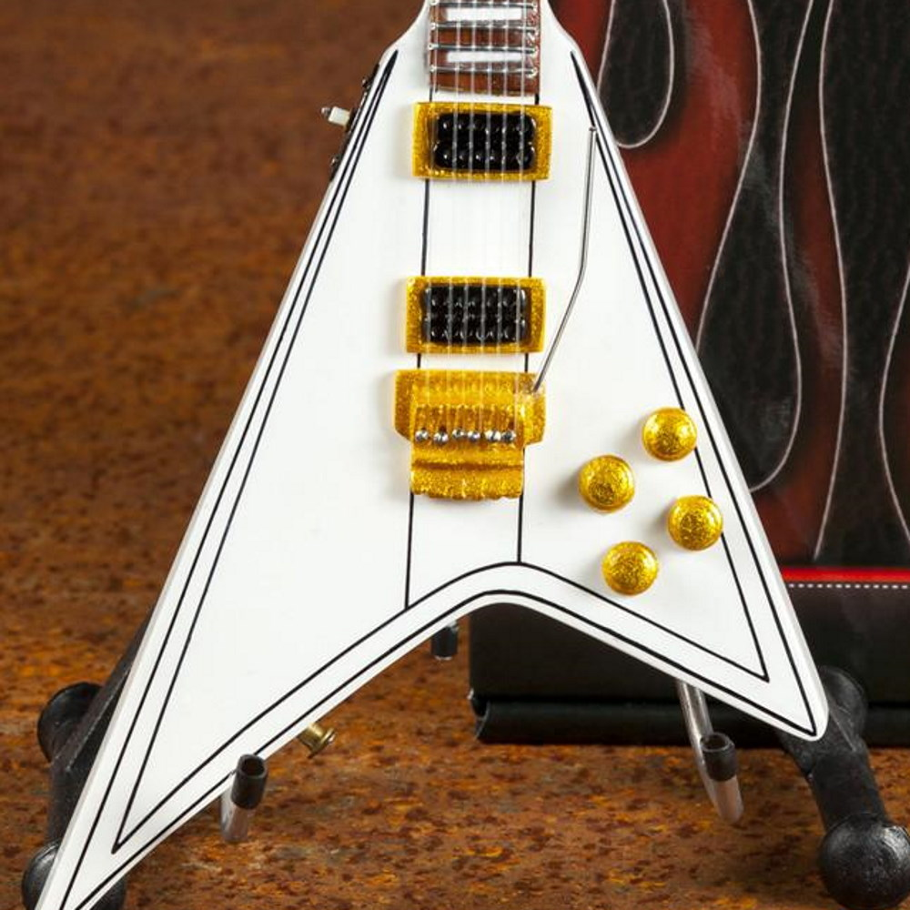 OZZY OSBOURNE オジーオズボーン - Randy's Signature White V Miniature Guitar Replica Collectible / ミニチュア楽器 【公式 / オフィシャル】