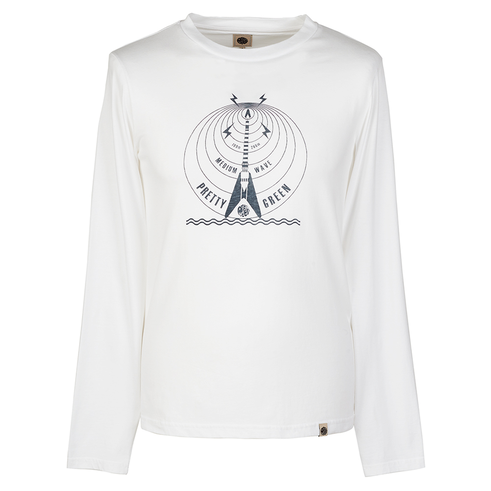 PRETTY GREEN(ブランド) プリティーグリーン - LS MEDIUM WAVE プリント クルーネック / 長袖 / Tシャツ / メンズ 【公式 / オフィシャル】