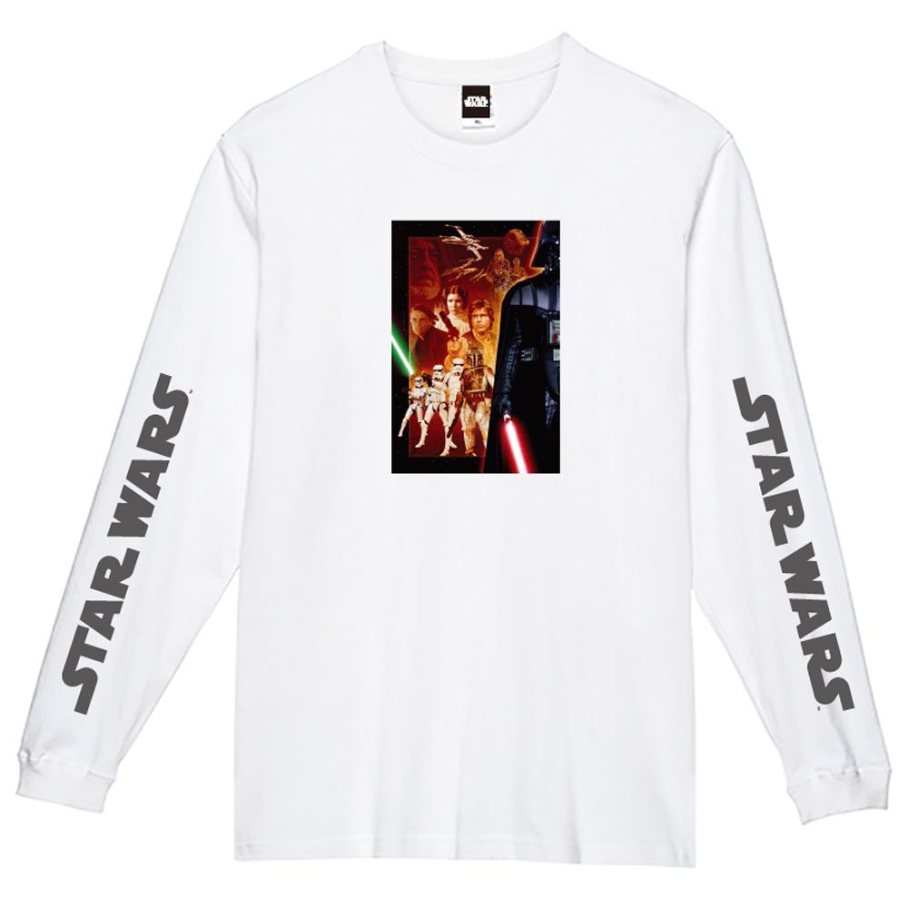STAR WARS スターウォーズ - 蓄光ロゴロングスリーブTシャツ(集合) / ホワイト / 長袖 / 限定商品 / Tシャツ / メンズ 【公式 / オフィシャル】