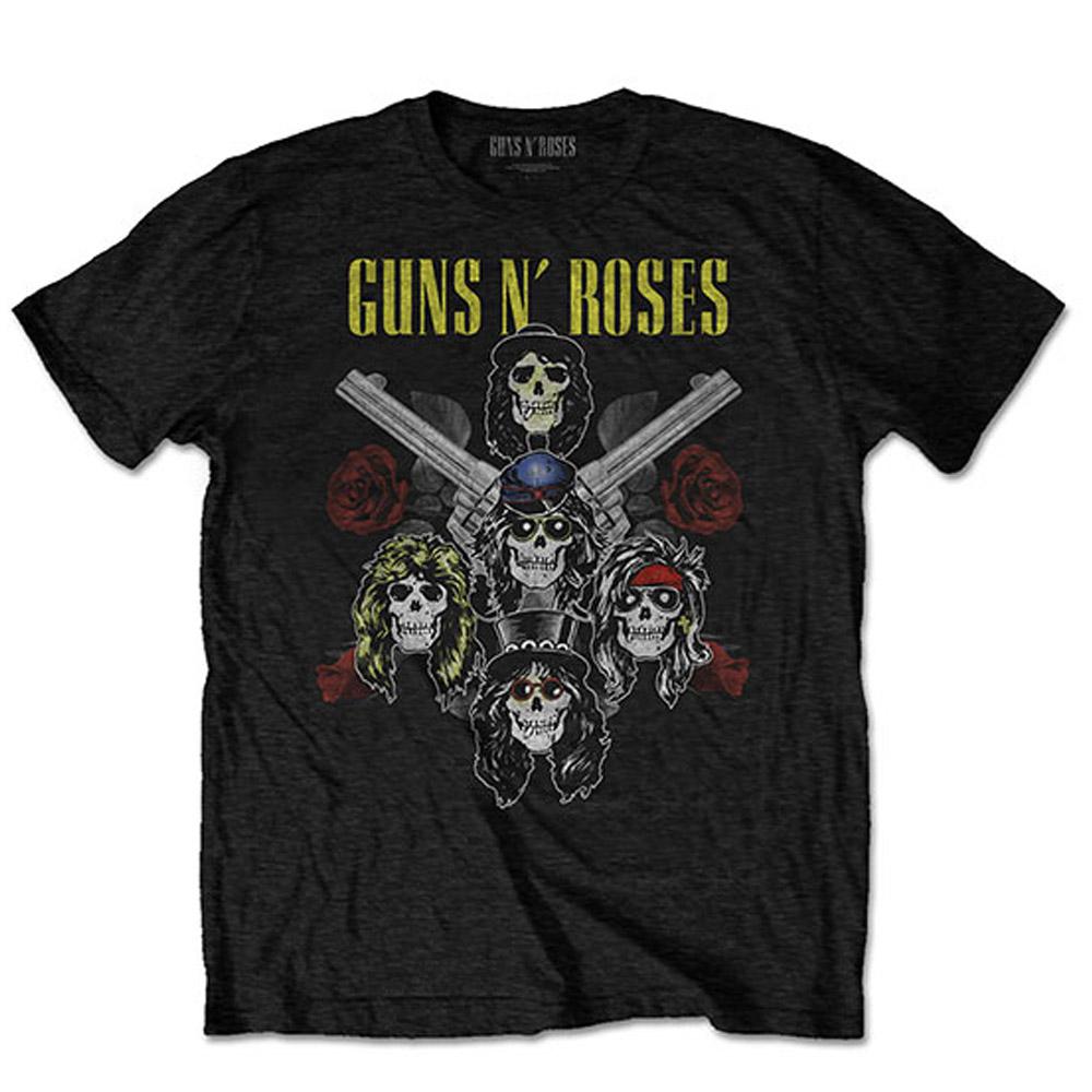 GUNS N ROSES ガンズアンドローゼズ (デビュー35周年記念 ) - Pistols & Roses / バックプリントあり / Tシャツ / メンズ 【公式 / オフィシャル】