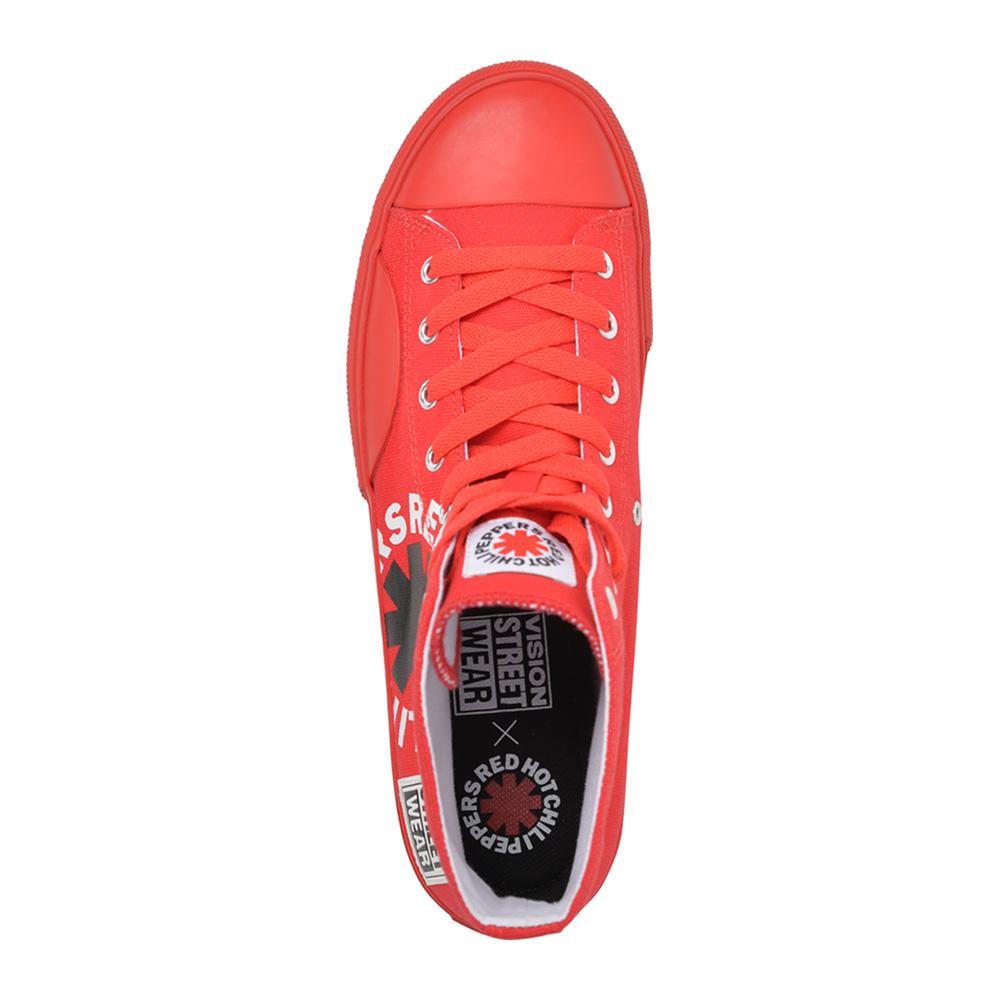RED HOT CHILI PEPPERS レッチリ (Blood Sugar Sex Magik 30周年 ) - Canvas HI RHCP Red / VISION STREET WEAR(ブランド) / スニーカー / レディース 【公式 / オフィシャル】