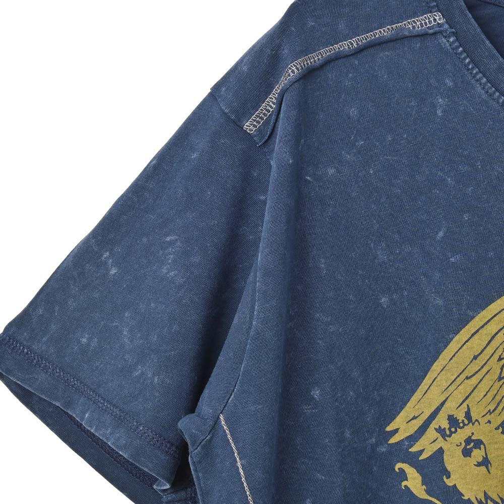 QUEEN クイーン (結成50周年 ) - Classic Crest Navy / Black Label(ブランド) / Snow Wash / Tシャツ / メンズ 【公式 / オフィシャル】