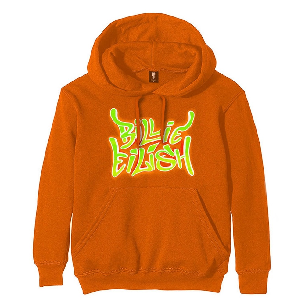 BILLIE EILISH ビリーアイリッシュ (デビュー5周年 ) - Airbrush Flames Blohsh / バックプリントあり / スウェット・パーカー / メンズ 【公式 / オフィシャル】