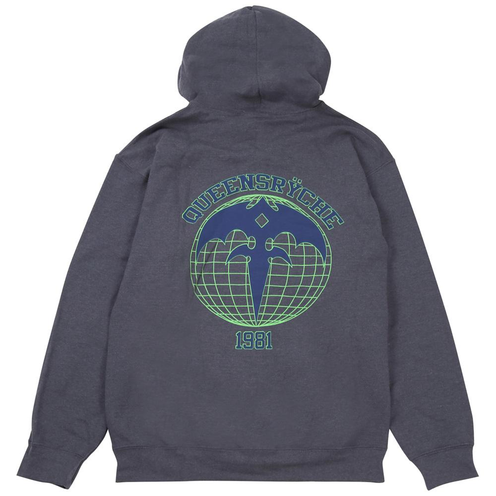 QUEENSRYCHE クイーンズライチ - ATHLETIC GLOBE HOODIE W / LINED HOOD / ジップ / スウェット・パーカー / メンズ 【公式 / オフィシャル】