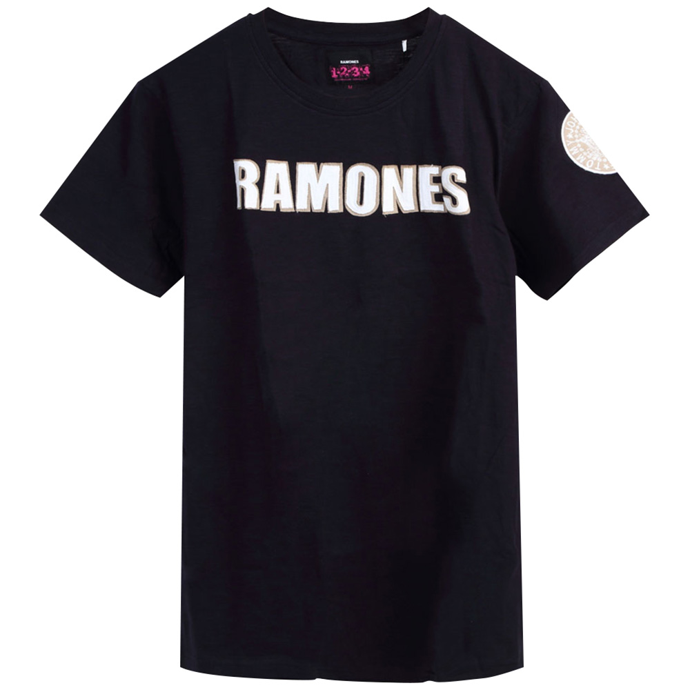 RAMONES ラモーンズ (来日40周年記念 ) - LOGO & PRESIDENTIAL SEAL WITH APPLIQUE MOTIFS / Black Label(ブランド) / Tシャツ / メンズ 【公式 / オフィシャル】