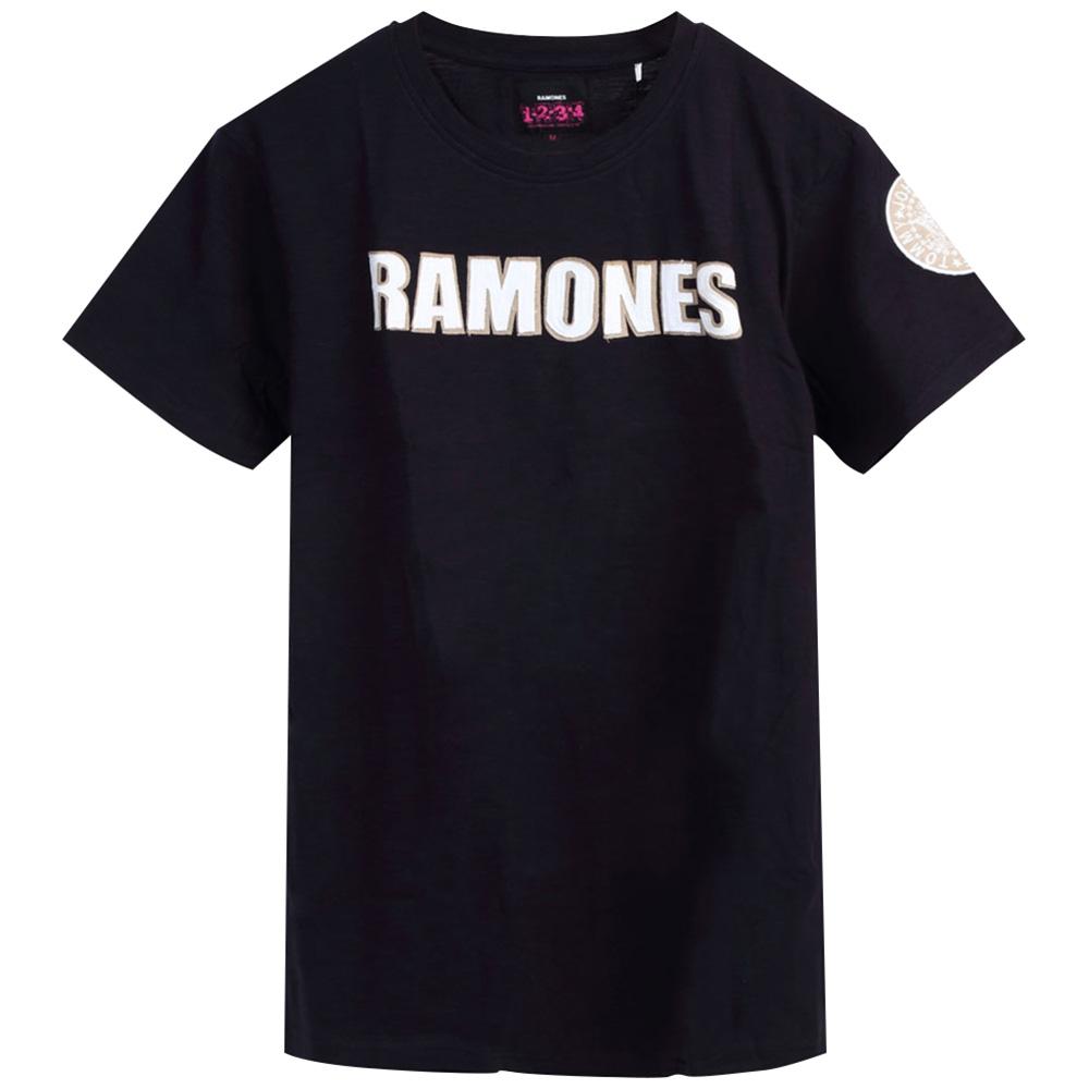 RAMONES ラモーンズ (デビュー45周年 ) - LOGO & PRESIDENTIAL SEAL WITH APPLIQUE MOTIFS / Black Label(ブランド) / Tシャツ / メンズ 【公式 / オフィシャル】