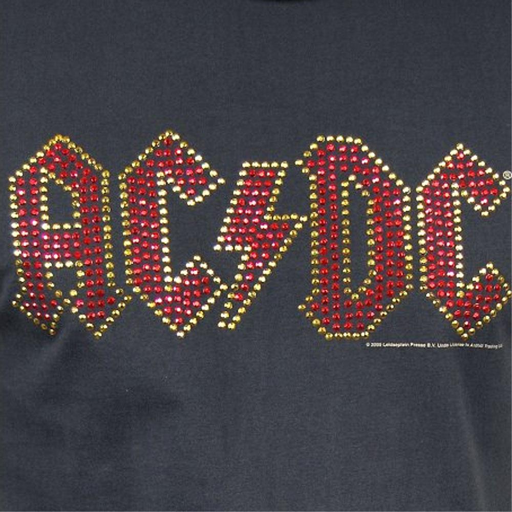 AC/DC エーシーディーシー (初来日40周年 ) - Logo DIAMANTE / Amplified( ブランド ) / Tシャツ / レディース 【公式 / オフィシャル】