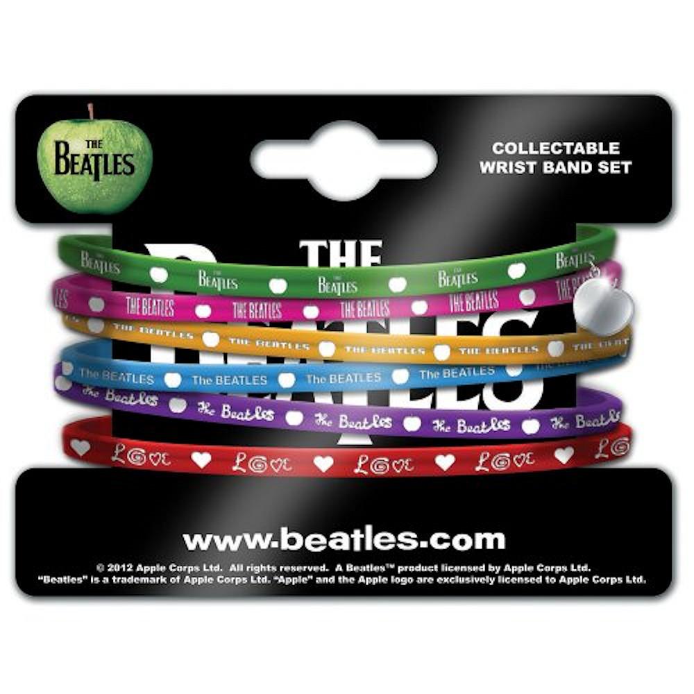 BEATLES ビートルズ (来日55周年記念 ) - Gummy Set with Apple Charm(6連) / リストバンド 【公式 / オフィシャル】