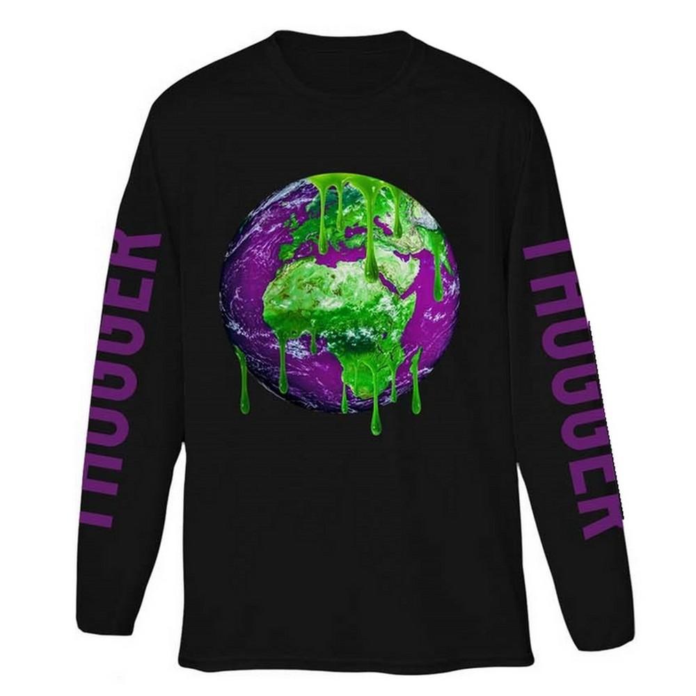 YOUNG THUG ヤング・サグ (生誕30周年 ) - Thugger Globe / バック & アームプリントあり / 長袖 / Tシャツ / メンズ