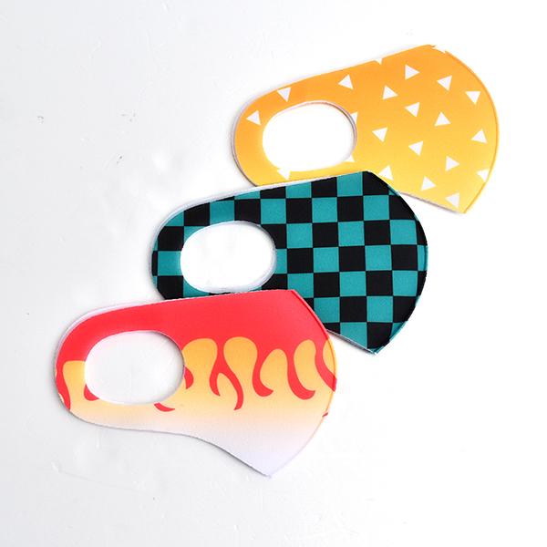 [衛生・美容特集]和風 3柄入 子供用マスク  和柄  立体 鬼 キャラクター 市松 火焔 鱗 伸縮性 洗濯可 飛沫予防 花粉 洗って使える 3枚入り