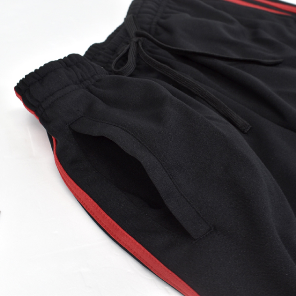 メンズ オールシーズン 2本ライン ジャージスポーツサイドライン ブラック ジョガー パンツ