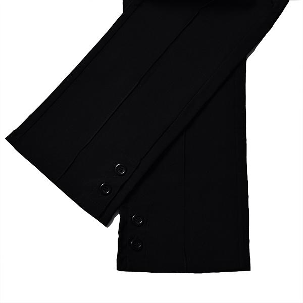 【値下げ品!!】レディース クロップドパンツ ブラック 婦人 前開き 黒 美脚 ヒップアップ 脚長 センターシーム 5TH AVENUE 64〜73cm