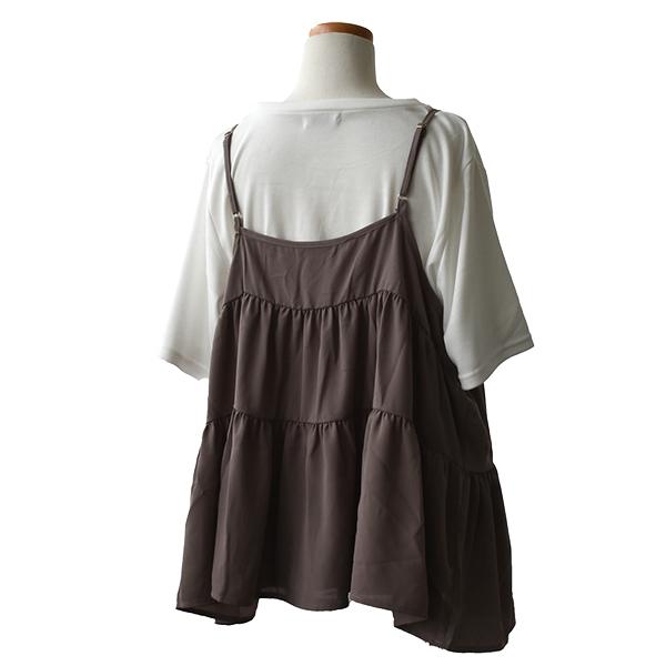 ◆期間限定20%ポイントUP◆レディース ティアード キャミソール Tシャツ セット 婦人 フレンチスリーブ スムース クルーネック ジョーゼット 肩紐調節 おしゃれ 3L 4L