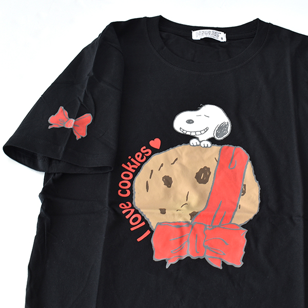 ◆期間限定20%ポイントUP◆ユニセックス スヌーピー 半袖Tシャツ メンズ 男女兼用 レディース SNOOPY クッキー リボン かわいい 1点までメール便可
