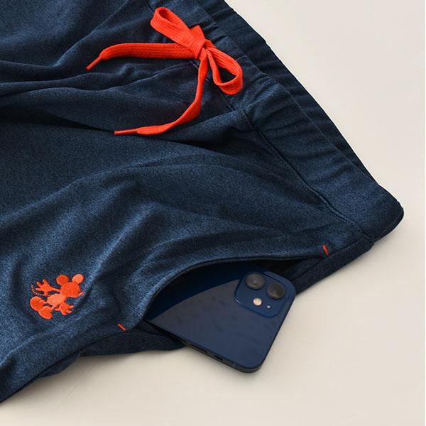 Disney(ディズニー) レディース ミッキーマウス ワンポイント刺繍 メッシュ 裾リブ クロプトパンツ UV対策 UVカット加工 吸水速乾 春 夏 Mickey Mouse かわいい 薄手
