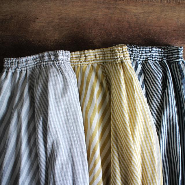 レディース ストライプ サーキュラースカート-表綿100% マキシ丈/フレア/女性/ロング/さわやか/涼しげ