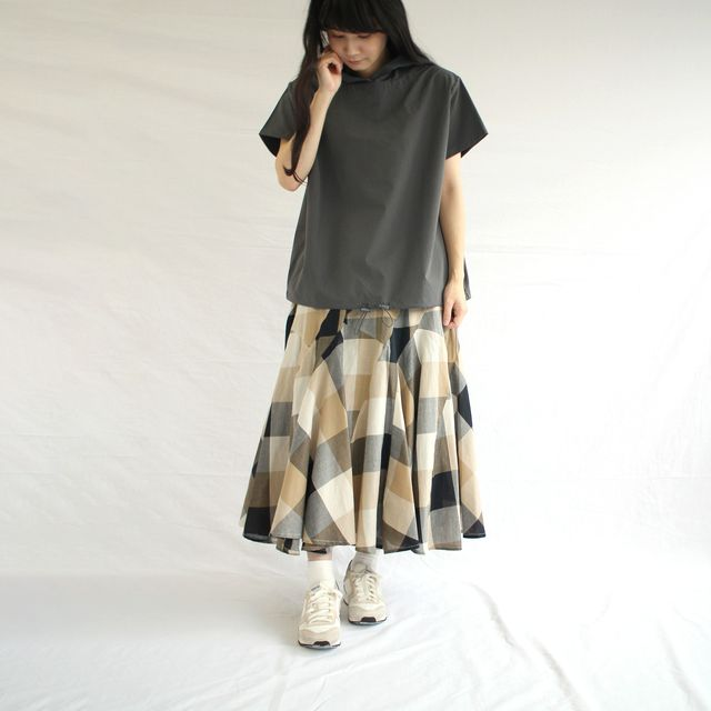 レディース チェック柄切替スカート-綿100% マキシ丈/フレアスカート/女性/ロング/コットン
