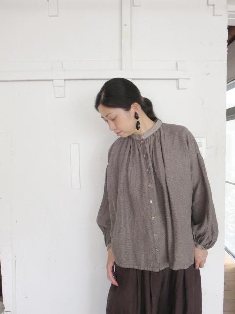 リネンギンガムバンドカラーシャツ 21057011