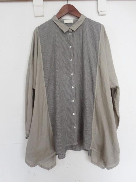 リネンストライプワイドシャツ 21107014