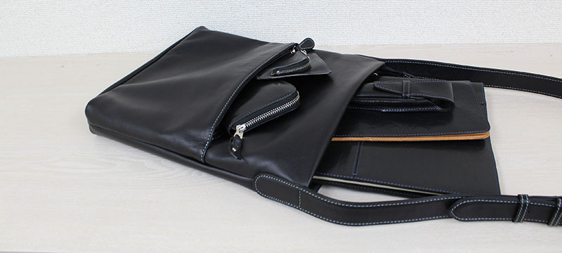 タテ型ショルダーバッグ K-87S (ポニー調ソフトレザー)(姫路レザー)(A4対応)