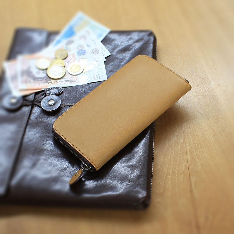 四十年近く愛されるラウンドファスナー長財布 P02 (バッファローカーフ)(ファスナー付小銭入)