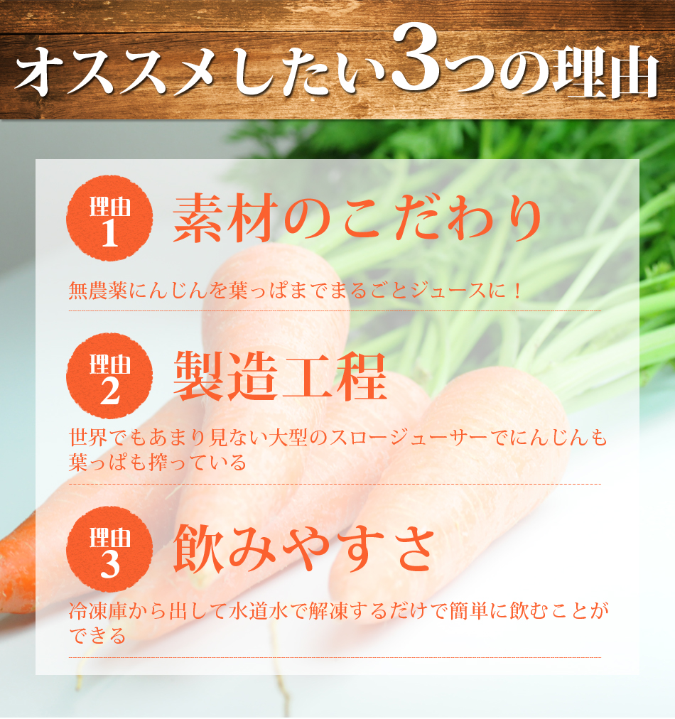 葉っぱ付きまるごと冷凍にんじんジュース15pお試しセット  【お一人様1回限り】【お試しセット】【送料無料】【100cc×15p】