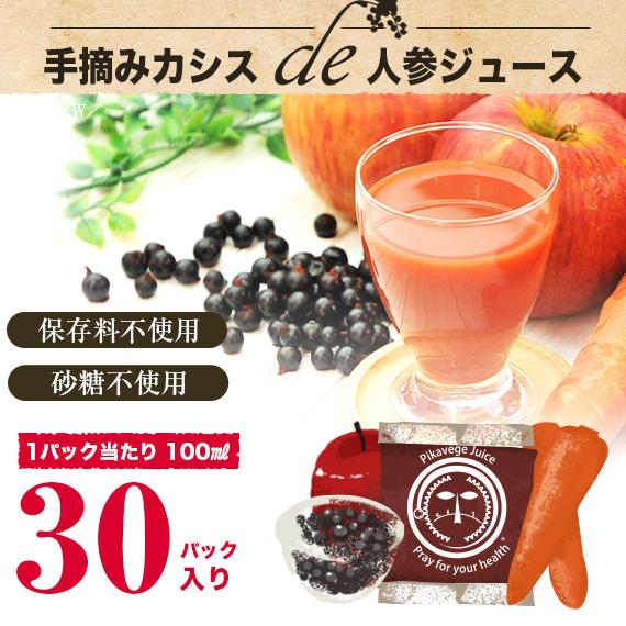 手摘みカシスde人参ジュース 1箱(100cc×30パック) 【冷凍ジュース】【にんじんジュース】【送料無料】