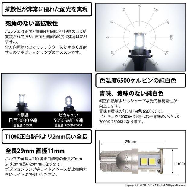 【GW SALE 9%OFF】【メール便可】日亜化学工業製素子使用 T10 日亜3030 9連200lm LEDウエッジバルブ LEDカラー:ホワイト 色温度:6500K 1セット2個入り