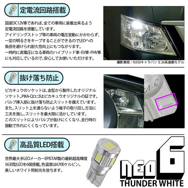 【即納】【メール便可】ホンダ Nボックスカスタム[JF1/JF2]対応 ライセンスランプ用LED T10 HYPER NEO 6ウェッジシングル LEDカラー:サンダーホワイト 無極性 1セット1個入