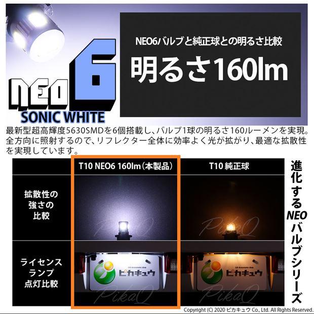 【即納】【メール便可】T10 HYPER NEO 6ウェッジシングル LEDカラー:ソニックホワイト 蒼白色7500K 無極性 1セット2個入