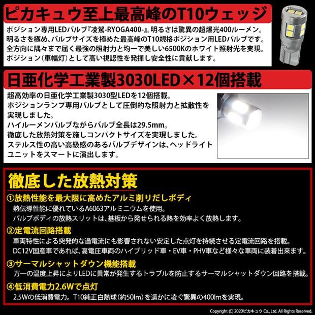 【即納】【メール便可】T10 凌駕-RYOGA400- 400lm ポジションランプ用LEDウェッジバルブ 日亜化学工業製LED 12個搭載 全光束400lm LEDカラー:ホワイト6500K 1セット2個入り