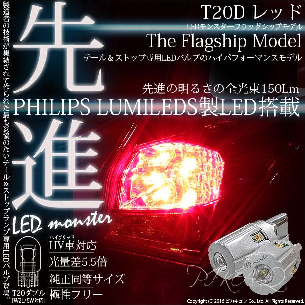 【即納】【メール便可】PHILIPS LUMILEDS製LED搭載 T20d LED MONSTER 150lm ウェッジダブル レッド 無極性 1セット2個入