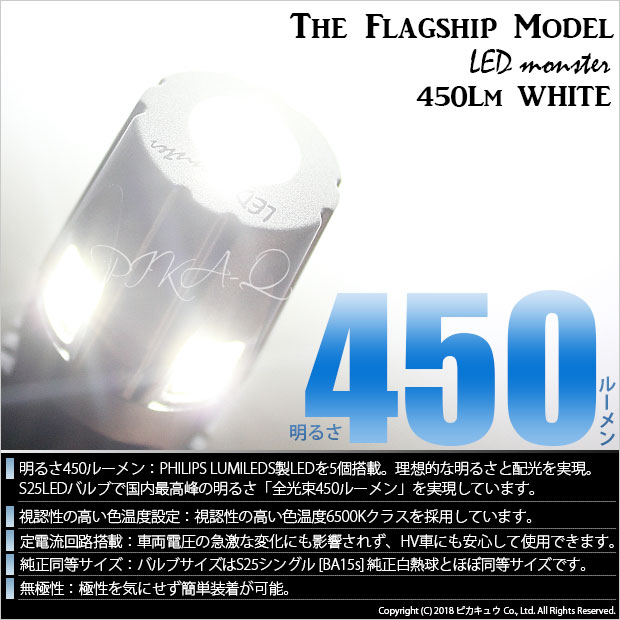 【GW SALE 9%OFF】【メール便可】PHILIPS LUMILEDS製LED搭載 S25s[BA15s] LED MONSTER 450lm ウェッジシングル  LEDカラー:ホワイト6500K 無極性 1セット2個入