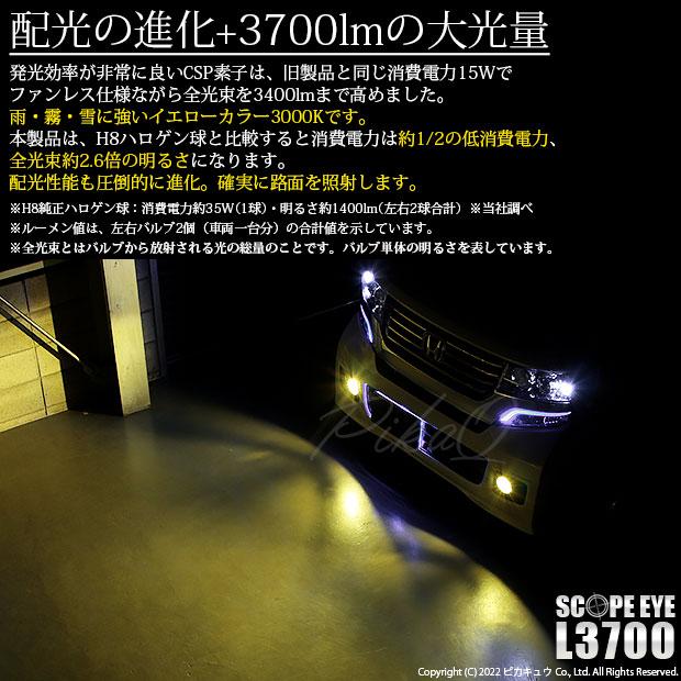 【即納】ホンダ Nボックスカスタム[JF1/JF2]対応 フォグランプ用LED SCOPE EYE L3400 LEDフォグキット LEDカラー:イエロー3000K バルブ規格:H8(H8/H11/H16兼用)