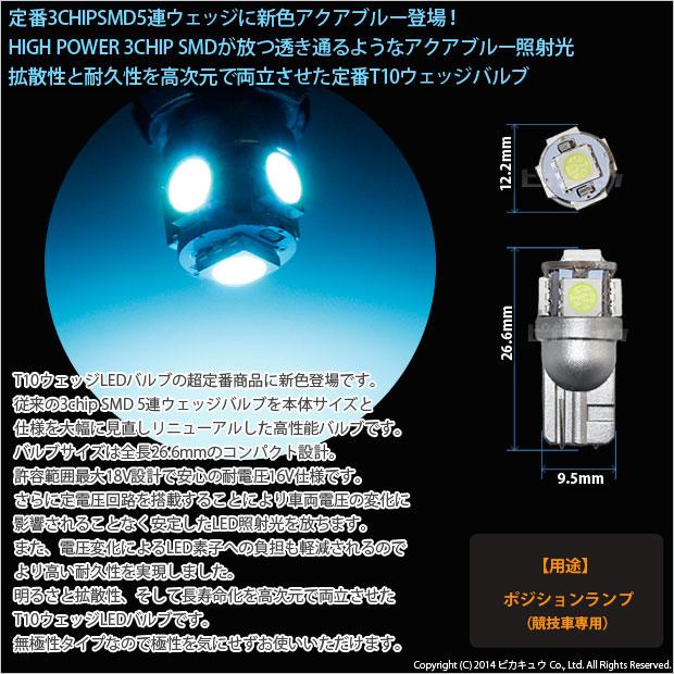 【即納】【メール便可】ホンダ Nボックスカスタム[JF1/JF2]対応 ポジションランプ用LED【競技車専用】 T10 3chip HYPER SMD 5連 ウェッジシングル LEDカラー:アクアブルー 無極性 1セット2個入