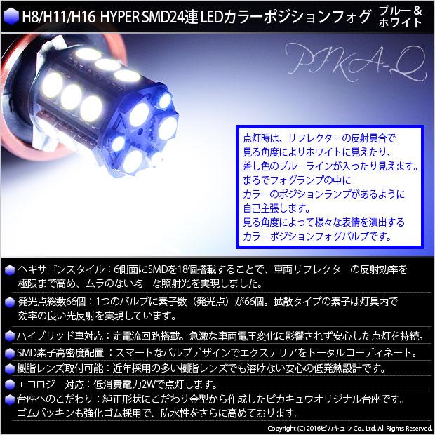 【即納】【競技車専用】H8/H11/H16兼用 3chip HYPER SMD 24連 LEDカラー:ブルー&ホワイト 無極性 1セット2個入