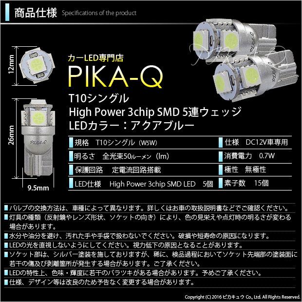 【GW SALE 9%OFF】【メール便可】T10 3chip HYPER SMD 5連 ウェッジシングル LEDカラー:アクアブルー 無極性 1セット2個入