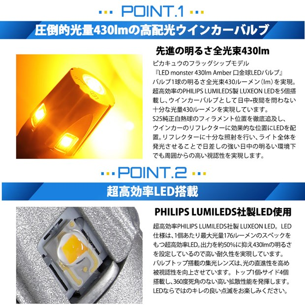 【GW SALE 9%OFF】【メール便可】PHILIPS LUMILEDS製LED搭載 S25s[BAU15s] LED MONSTER 430lm シングル口金球 ピン角違い150° LEDカラー:アンバー 無極性 1セット2個入