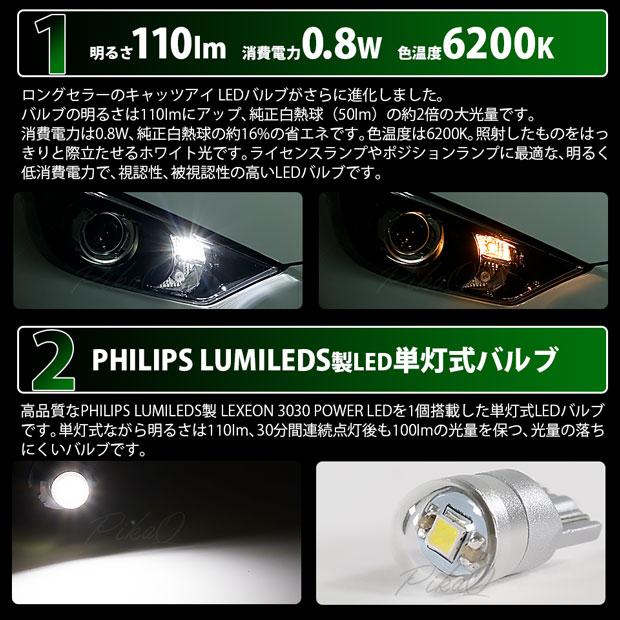 【ピカキュウの日】【メール便可】トヨタ タウンエースバン[S402M/S412M]対応 ライセンス用LED T10 Cat's Eye LED BULB 全光束110ルーメン LEDカラー:ホワイト6200K 無極性 1セット2個入