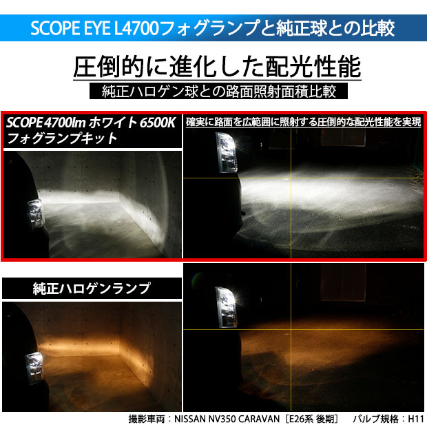 【即納】レクサス GS350[GRS190系 前期]対応 フォグランプ用LED SCOPE EYE L4000 LEDフォグキット LEDカラー:ホワイト6500K バルブ規格:HB4