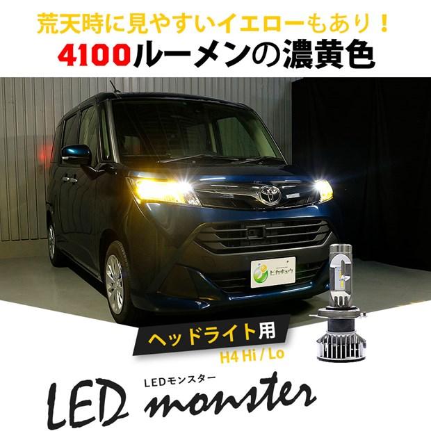 【即納】LED monster L6400 ホワイト H4 LEDヘッドランプキット 6500K 明るさ6400lm バルブ規格:H4 Hi/Lo