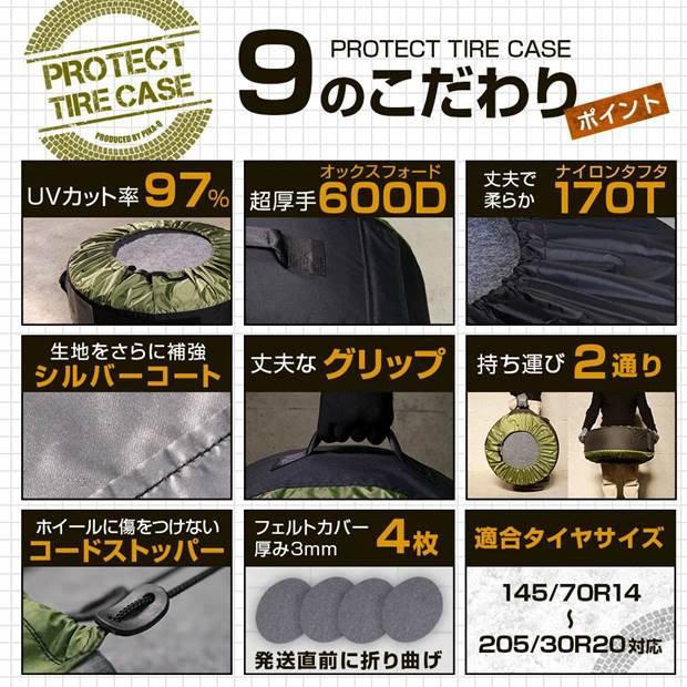 【即納】プロテクトタイヤケース 145/70R14〜205/30R20対応 カラー:ブラック フェルトカバー4枚付き