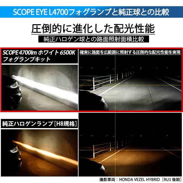 【即納】ホンダ Nボックスカスタム[JF1/JF2]対応 フォグランプ用LED SCOPE EYE L4000 LEDフォグキット LEDカラー:ホワイト6500K バルブ規格:H8(H8/H11/H16兼用)