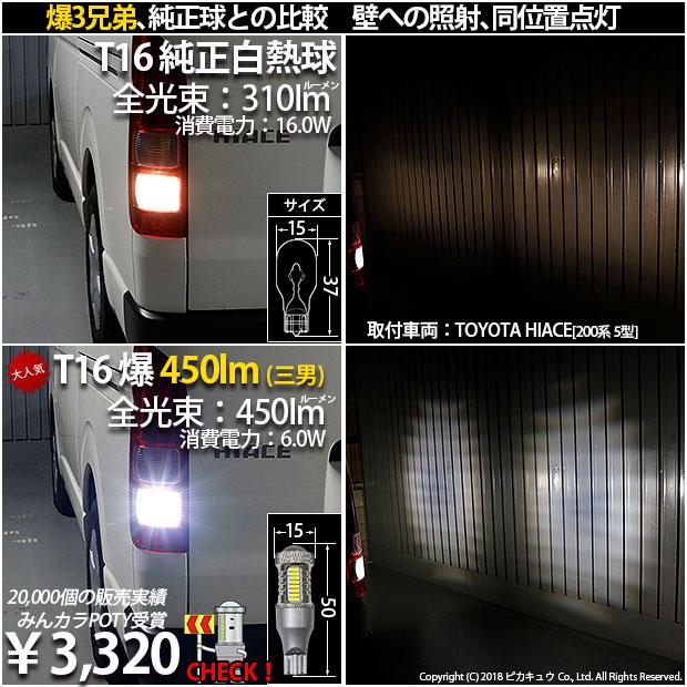 【即納】【メール便可】トヨタ ハイエース[200系 4型]対応 バックランプ用LED T16 爆-BAKU-800lmバックランプ用LED ウェッジシングル LEDカラー:ホワイト 6600K 無極性 1セット2個入