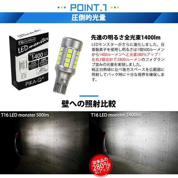 【GW SALE 9%OFF】【メール便可】T16 LED monster1400lmバックランプ用ウェッジバルブ LEDカラー:ホワイト 色温度:6500K 1セット2個入り