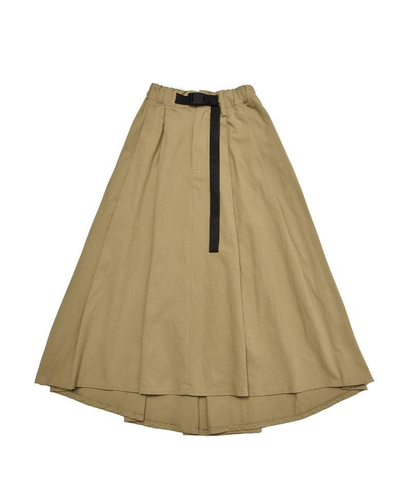 ベルト付きボリュームロングスカート